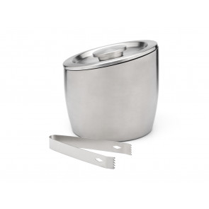 Double-walled ice bucket 2.5L with lid and tongs